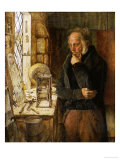 Our Village Clockmaker Solving a Problem Premium Giclee Print by Campbell Jones