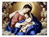 The Madonna and Child in Glory with Cherubs Giclee Print by Giovanni Battista Salvi da Sassoferrato 