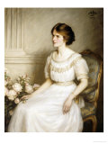 Portrait of Mary Doris Reed, Seated Half Length, Wearing a White Dress Gicléetryck av Henry John Hudson