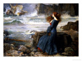 Miranda, a Tempestade, 1916 Impressão giclée premium por John William Waterhouse