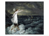 A Fairy Waving Her Magic Wand Across a Stormy Sea Giclee Print by Amelia Jane Murray