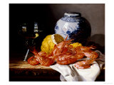 Shrimps, a Peeled Lemon, a Glass of Wine and a Blue and White Ginger Jar on a Draped Table Giclee Print by Edward Ladell