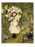 Portrait of Effie Holding a Lily and a Posy of Roses in a Garden, 1876 Giclee Print by Marie Spartali Stillman