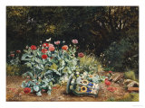Summer Flowers in a Quiet Corner of a Garden, 1882 Gicl&#233;e-Druck von David Bates