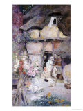 A Mother and Children Feeding Rabbits at the Door of a Thatched Cottage Giclee Print by David Woodlock