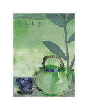 Green Teapot and Japanese Bowl Posters by Helene Druvert
