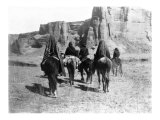 Navajo on Horseback Giclee Print by Edward S. Curtis
