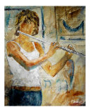 Playing the Flute Giclee Print by Pol Ledent