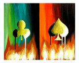 Flaming Clubs and Spades Giclee Print by Teo Alfonso
