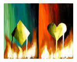 Flaming Diamonds and Hearts Giclee Print by Teo Alfonso