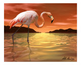 Florida Pink Flamingo Reproduction procédé giclée par Alan A. Armstrong