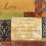 Woorden om naar te leven, Liefde, Engelse tekst: Love is patient Poster van Debbie DeWitt