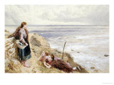 Cullercoats Cliffs Prints by Myles Birket Foster