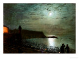 Scarborough by Moonlight from the Steps of the Grand Hotel Giclee Print by John Atkinson Grimshaw