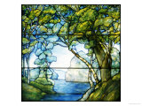 A Leaded Glass Landscape Window, 1916 Giclee Print by Tiffany Studios 