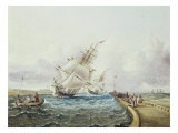 Square Rigged Ships Off Jetty Giclee Print by James Edward Buttersworth