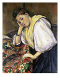 Italian Girl Leaning on a Table Giclee Print by Paul Cézanne