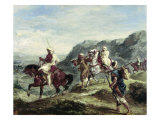 Arabs Traveling Giclee Print by Eugene Delacroix