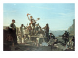 The Jolly Flatboatmen Reproduction procédé giclée par George Caleb Bingham