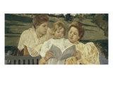 Family Group Reading Impression giclée par Mary Cassatt