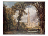 Salisbury Cathedral, from the Bishop&#39;s Grounds Giclee Print by John Constable