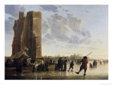 View of the Maas in Winter Giclee Print by Aelbert Cuyp