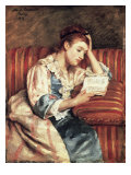 Young Woman Reading Giclee Print by Mary Cassatt