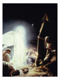 Angel and the Shepherds Giclee Print by Carl Bloch