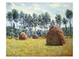 Haystacks at Giverny Premium Giclee Print by Claude Monet