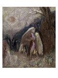 Jacob Wrestling with the Angel Giclee Print by Odilon Redon