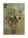 Bouquet of Flowers with Butterflies Giclee Print by Odilon Redon