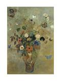 Ramo de Flores con Mariposas Lámina giclée por Odilon Redon