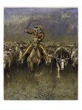 In a Stampede Giclee-trykk av Frederic Sackrider Remington