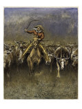In a Stampede Premium Giclee Print by Frederic Sackrider Remington