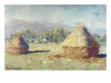 Two Haystacks Giclee Print by Claude Monet
