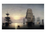 Sunset, Boston Harbor Premium Giclee Print by Fitz Hugh Lane