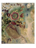 Two Girls Among the Flowers Giclee Print by Odilon Redon