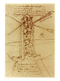Drawing of a Flying Machine Gicléedruk van Leonardo da Vinci