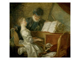 La leçon de musique Impression giclée par Jean-Honoré Fragonard