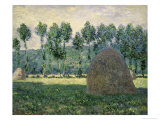 Haystacks Near Giverny Giclee Print by Claude Monet