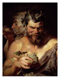 The Two Satyrs Reproduction proc&#233;d&#233; gicl&#233;e par Peter Paul Rubens