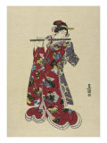 Yokobue, Seven Hole Chinese Flute Giclee Print by Toyokuni 