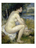 Nude Woman Seated in a Landscape Premium Giclee Print by Pierre-Auguste Renoir