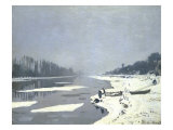 Glacons Sur la Seine a Bougival Giclee Print by Claude Monet