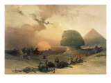 Approach of the Simoom - Desert of Giza Lámina giclée por David Roberts