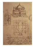 Sketch of a Square Church with Central Dome and Minaret Reproduction procédé giclée par Leonardo da Vinci