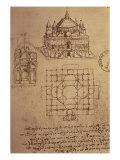 Sketch of a Square Church with Central Dome and Minaret Giclée-tryk af Leonardo da Vinci,