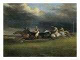 Course de Chevaux a Epsom Giclee Print by Théodore Géricault