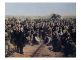 The Last Spike May 10 1869 Giclee Print by Thomas Hill