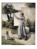 Woman Hanging Laundry Giclee Print by Camille Pissarro